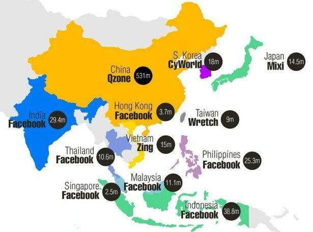 Global Social Media Usage In Asia Vs The US Social Media - Map of asia vs us