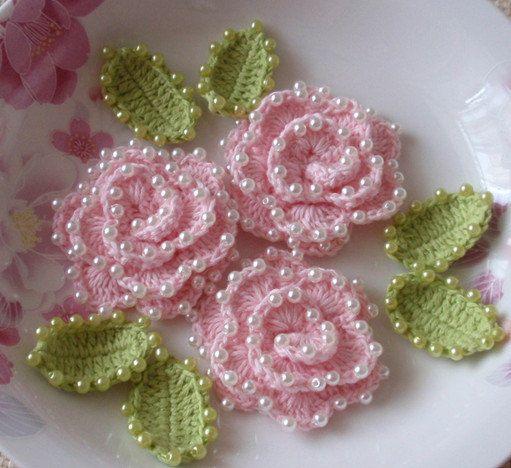 3 Crochet Flower With Pearls YH-072-02 | Pinterest | gehäkelte ...