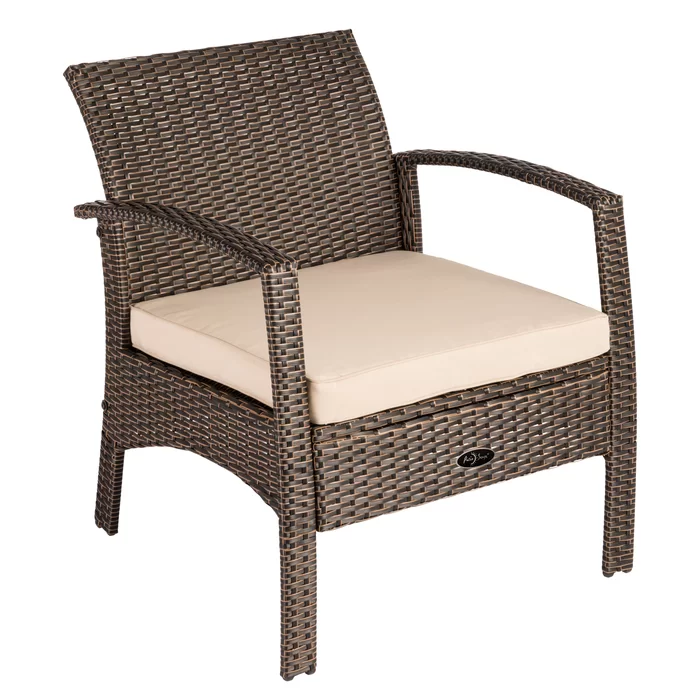 Patiosense Bondi Patio Chair With Cushions Reviews Wayfair In 2020 Outdoor Wicker Chairs Wicker Patio Chairs Outdoor Armchair