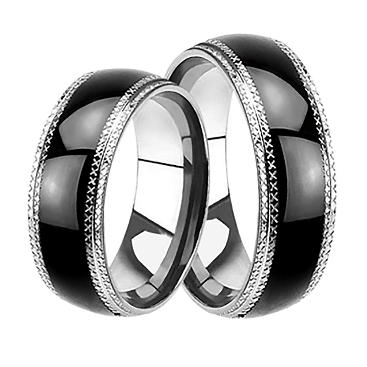 LaRaso and Co His and Hers Black Wedding Rings Set
