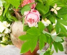 Flower Arrangements Inspiration: Elegant Gold Pink and Green Wedding Centerpiece