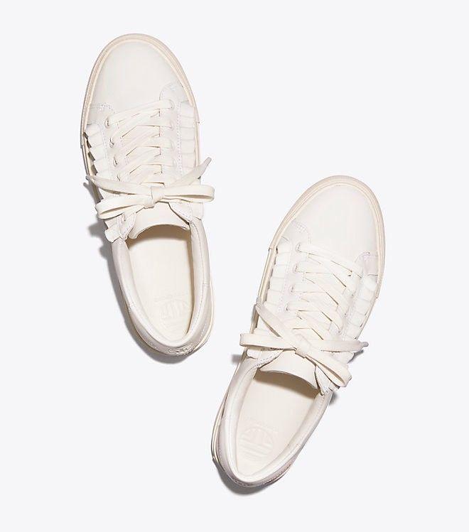f5b56a59cdde Tory Burch Sport Ruffle Sneaker - Snow White  White- Navy Sea 5 ...