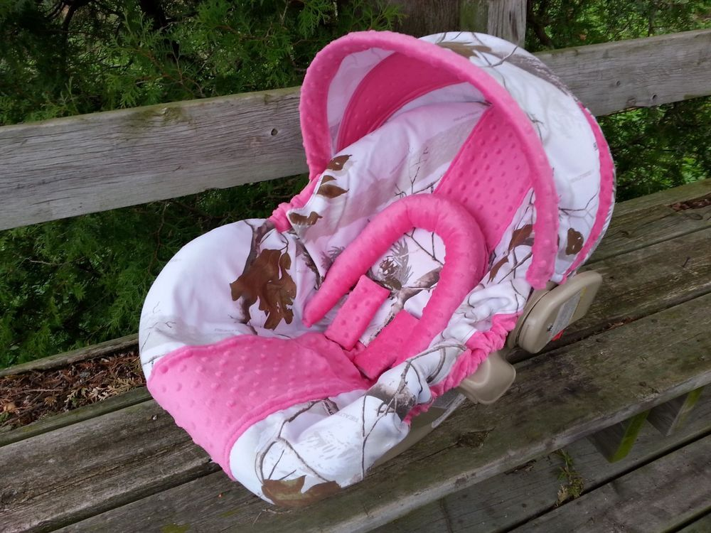 Camo Infant Car Seat Cover Realtree Snow Fabric And Hot Pink Minky Handmade