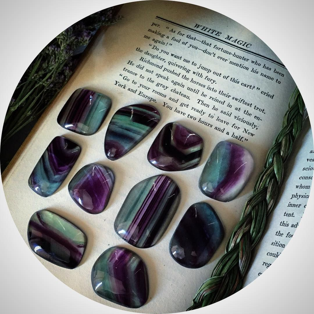 Well, I'm officially enrolled in school for metalworking and I start this Friday  I'm so excited and nervous but I really want to hone in on my skills and learn more tools to bring my designs into fruition. Hoping to use some of these gorgeous Fluorite cabs this weekend. ❤️❤️❤️#fluorite#earthmagick#ritualcravt