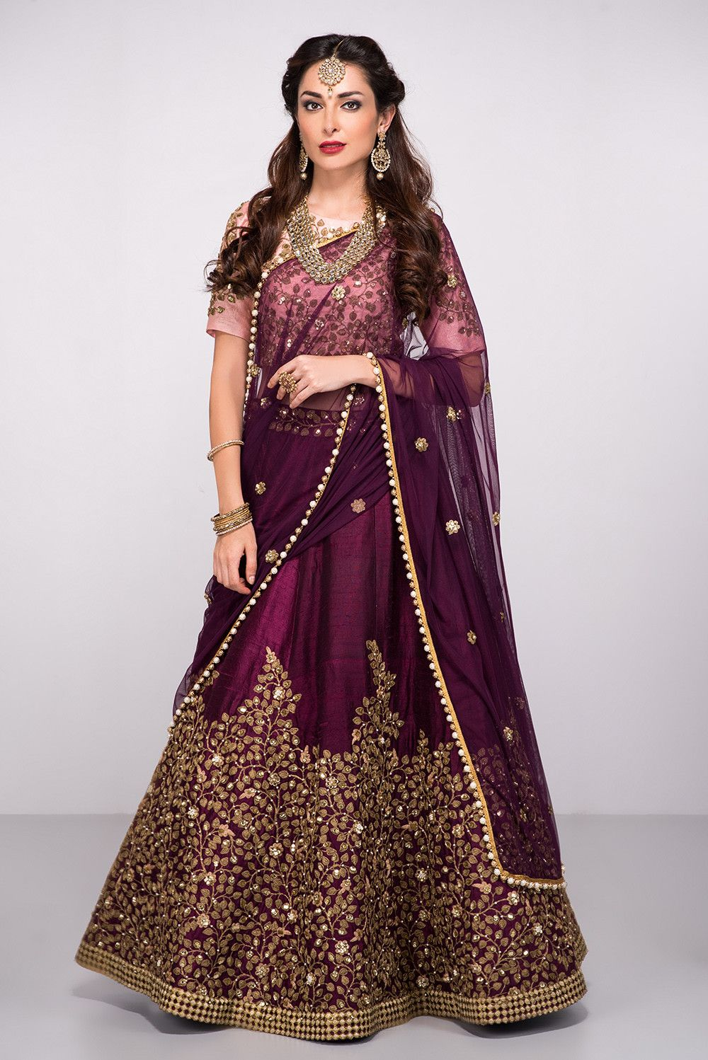 2c6d2fe7bbc408 ABHILASHA Wine And Peach Embroidered Lehenga Set