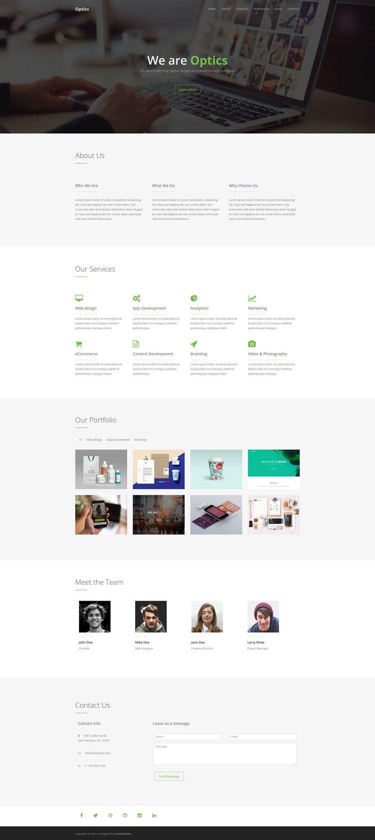 Optics Free One Page Html Template Html5 Templates Templates Free Website Templates