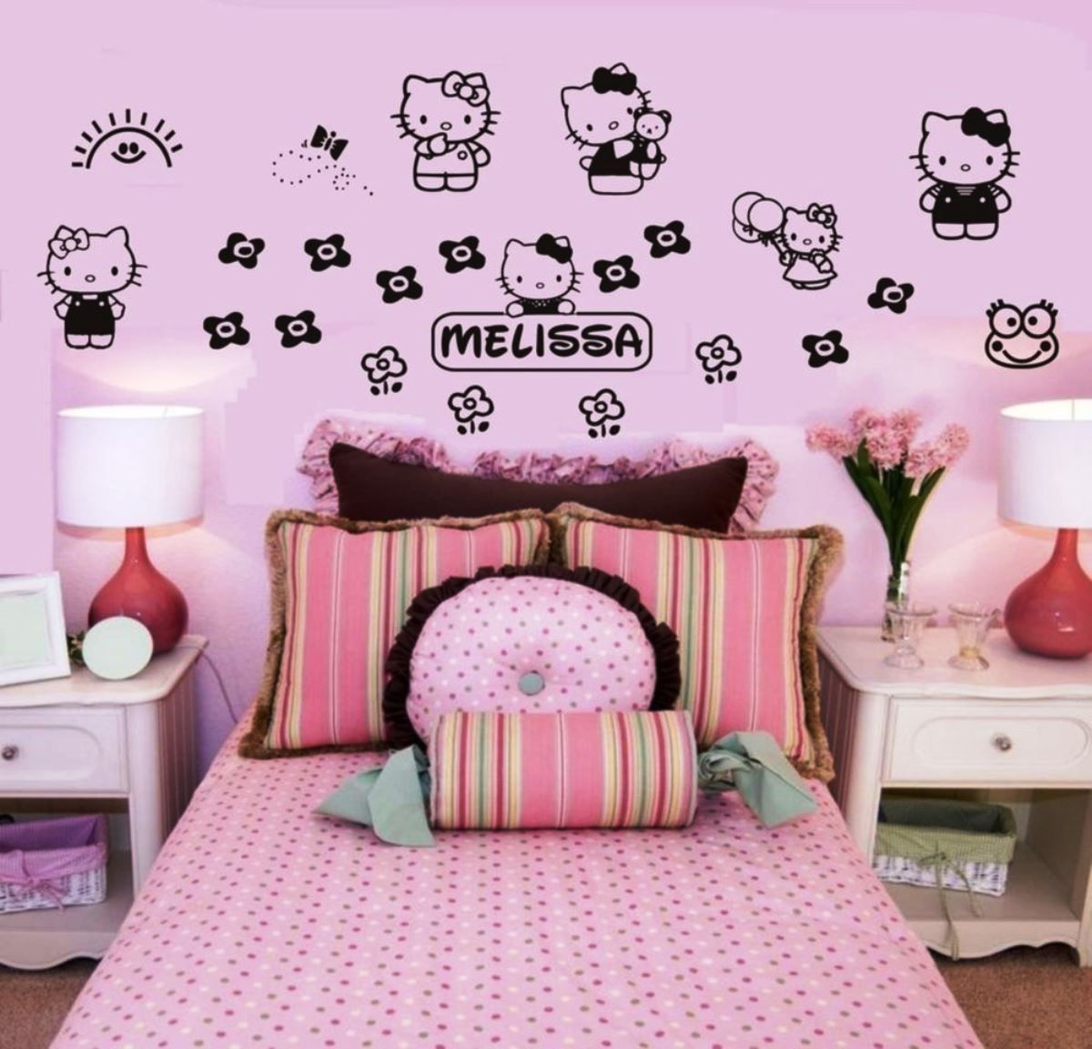 Superior Hello Kitty Room Design Ideas Part - 13: Sweet Pink White Bedroom Furniture On Laminate Floor Paired With Black Hello  Kitty Wall Decal Design