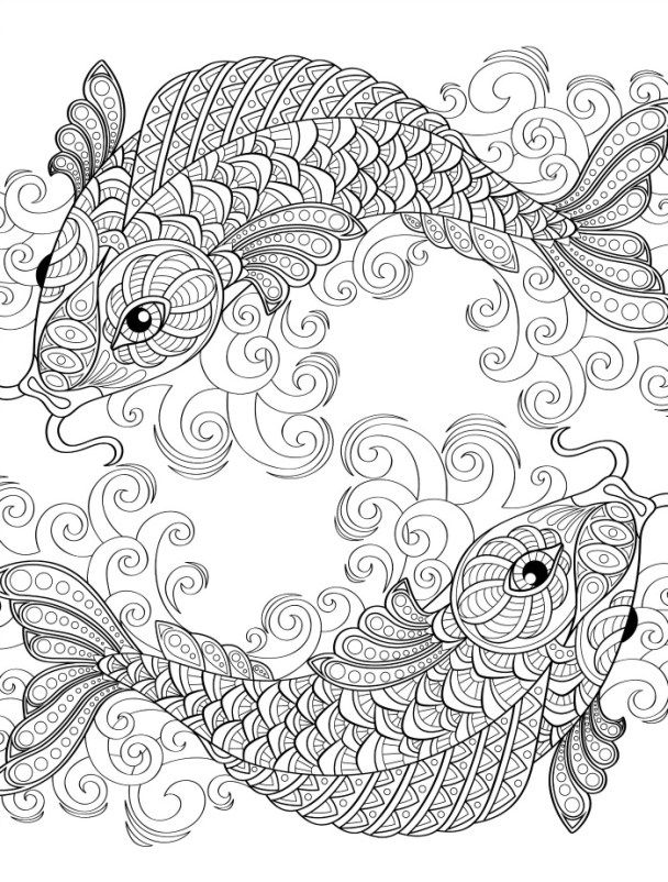yin and yang pieces symbol fish coloring page for adults | Doodles ...