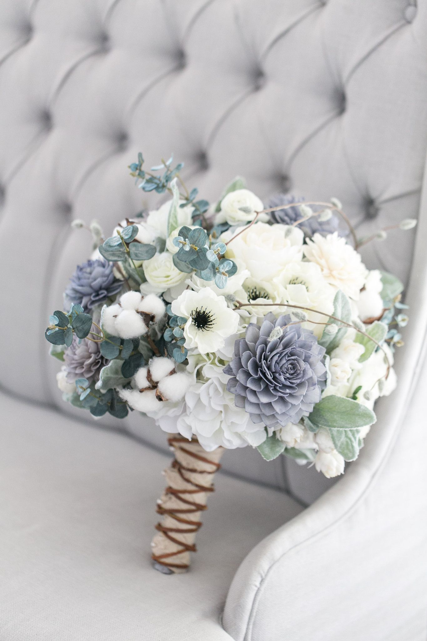 Our Grey Navy And Cream Bouquet Is A Rustic Beauty This Stunning Bouquet Has A Great Blue Wedding Flowers Wedding Color Schemes Winter Winter Wedding Colors