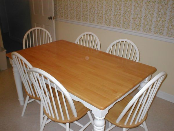 butcher block kitchen table with six chairs 100 on