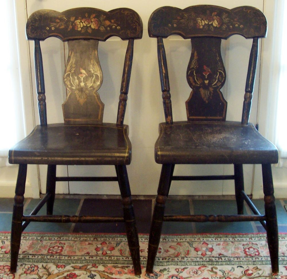 Pair 2 Antique Sheraton Hitchcock Chairs with Stenciled Birds & Wood Seats  #Hitchcockstyle #Unsigned - Pair 2 Antique Sheraton Hitchcock Chairs With Stenciled Birds & Wood