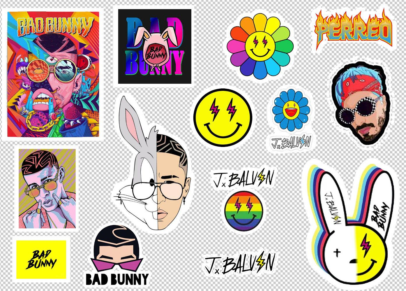 Bad Bunny and J Balvin stickers  Bad bunny Free shipping   musician  YHLQMDLG   laptop cute - Print stickers, Stickers, Bunny, Cute, Etsy, Etsy gift card - 1 full sheet containing J Balvin and bad bunny (trap) stickers  Free shipping!