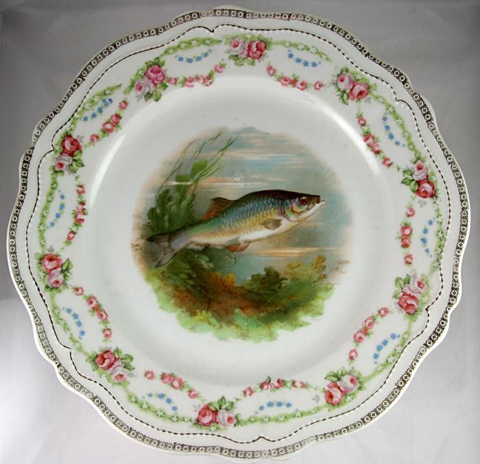 RARE Antique Set of 12 HP Fish Plates Stunning Royal Austria & RARE Antique Set of 12 HP Fish Plates Stunning Royal Austria   Fish ...