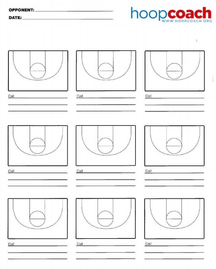 Nine Court Basketball Court Diagram For Scouting Opponents Or