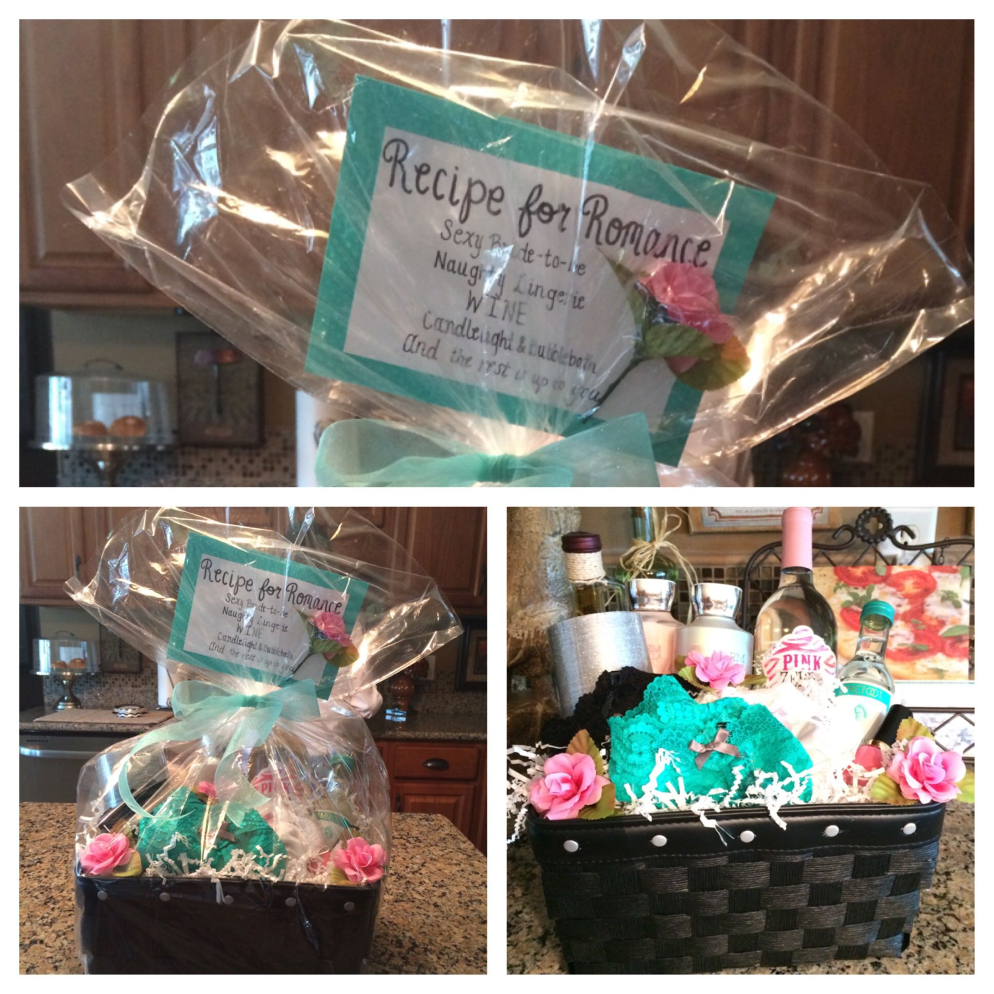 Bachelorette gift basket with bubble bath wine and other