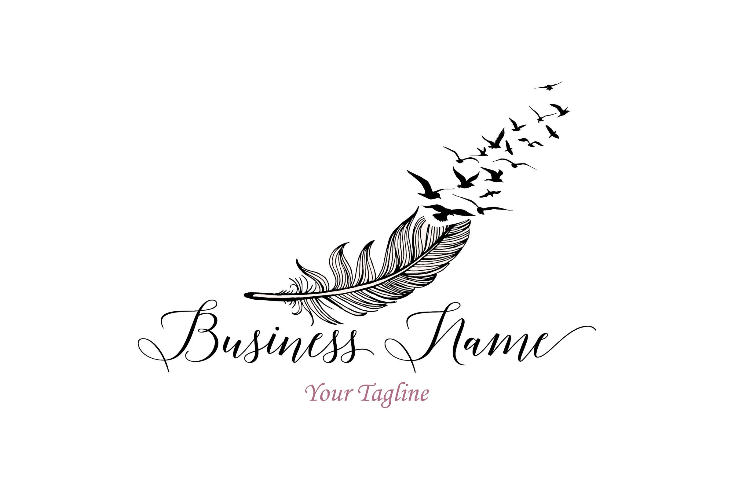 custom logo design, photography feather logo, feather with flying