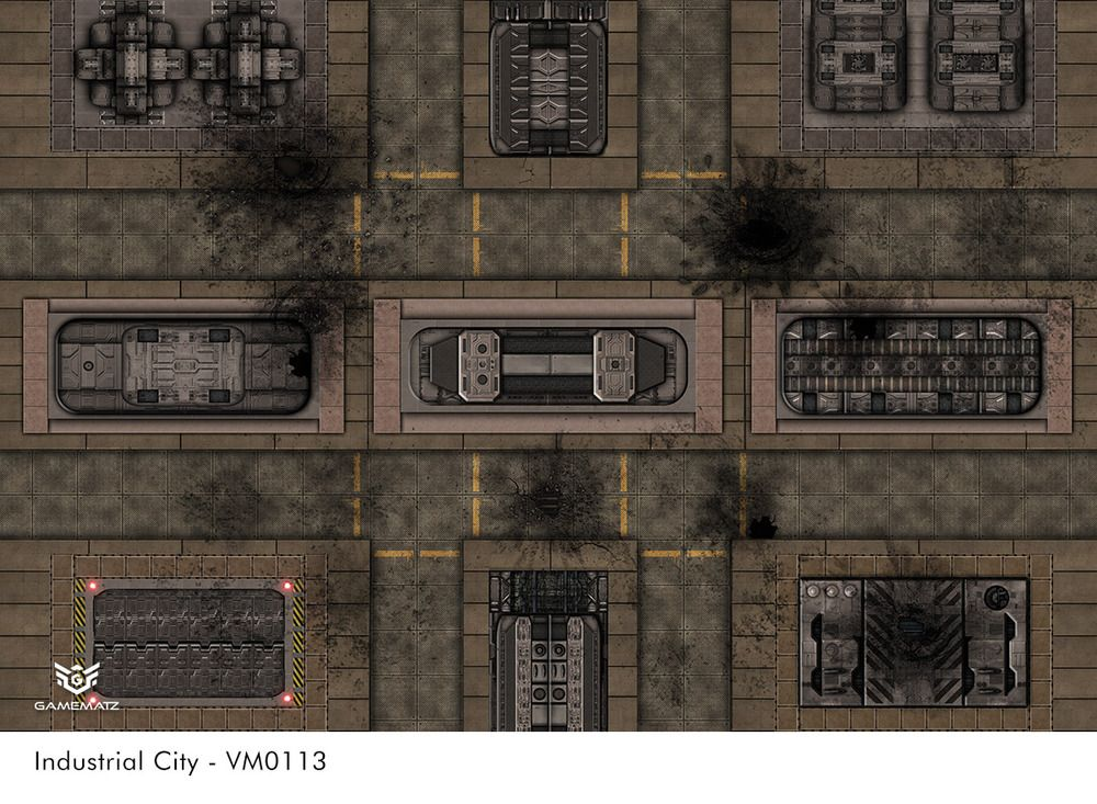 Industrial City terrain gaming mat is made for tabletop