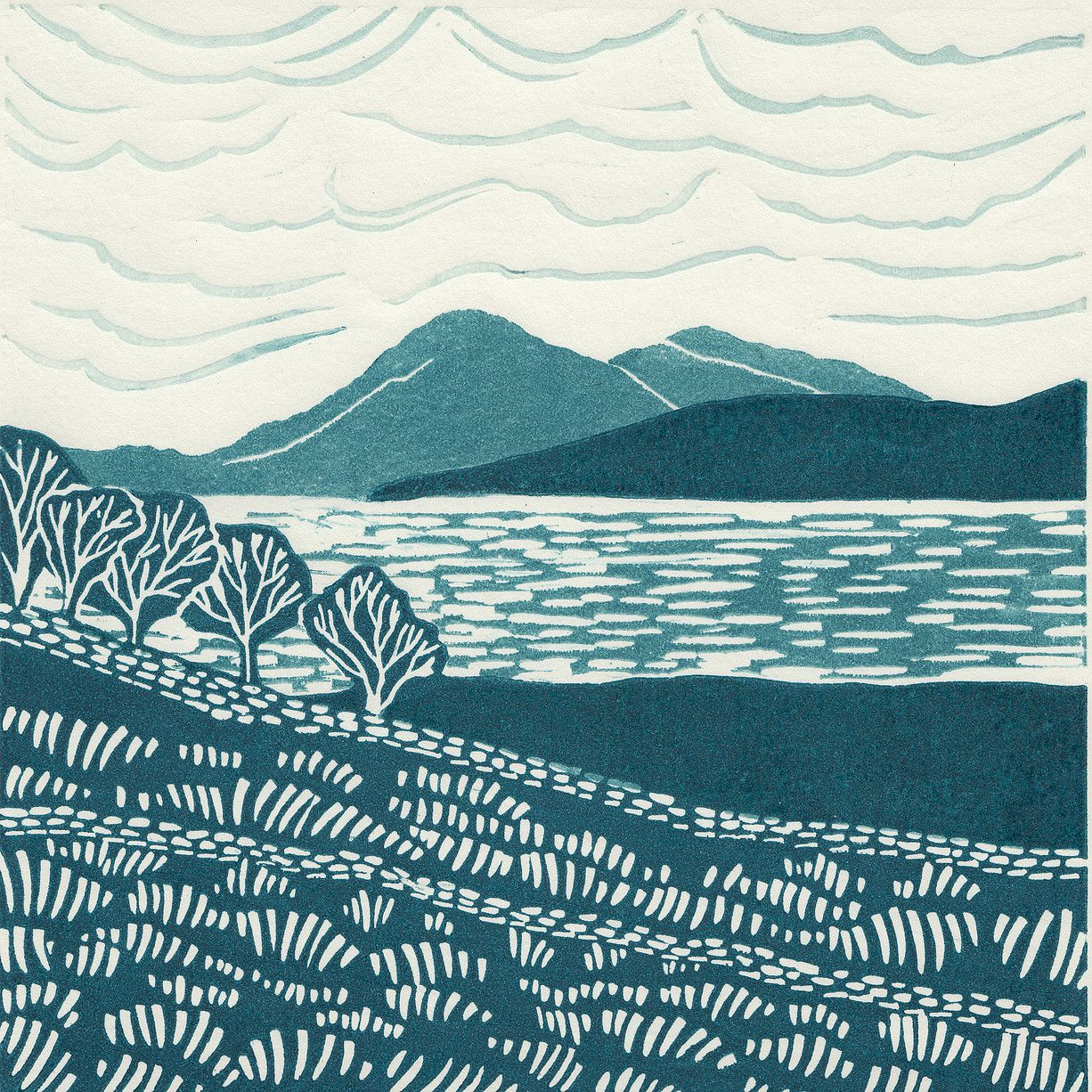 Skye From Applecross Limited Edition Linocut Print My Linocut Prints Are Inspired By Nature My Love Of Nature Art Prints Etsy Art Prints Linocut Prints