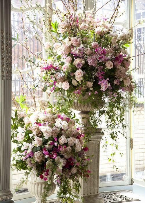 Victorian Silk Flower Arrangements I Love These Soft Colors Large Flower Arrangements Large Floral Arrangements Church Flowers