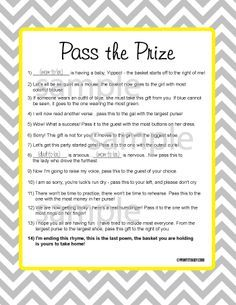 picture regarding Pass the Prize Baby Shower Game Free Printable called No cost Printable Boy or girl Shower Game titles Kid Shower Online games Shower