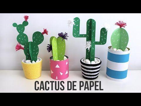 Cactus de papel Idea de decoracin sper fcil Manualidades