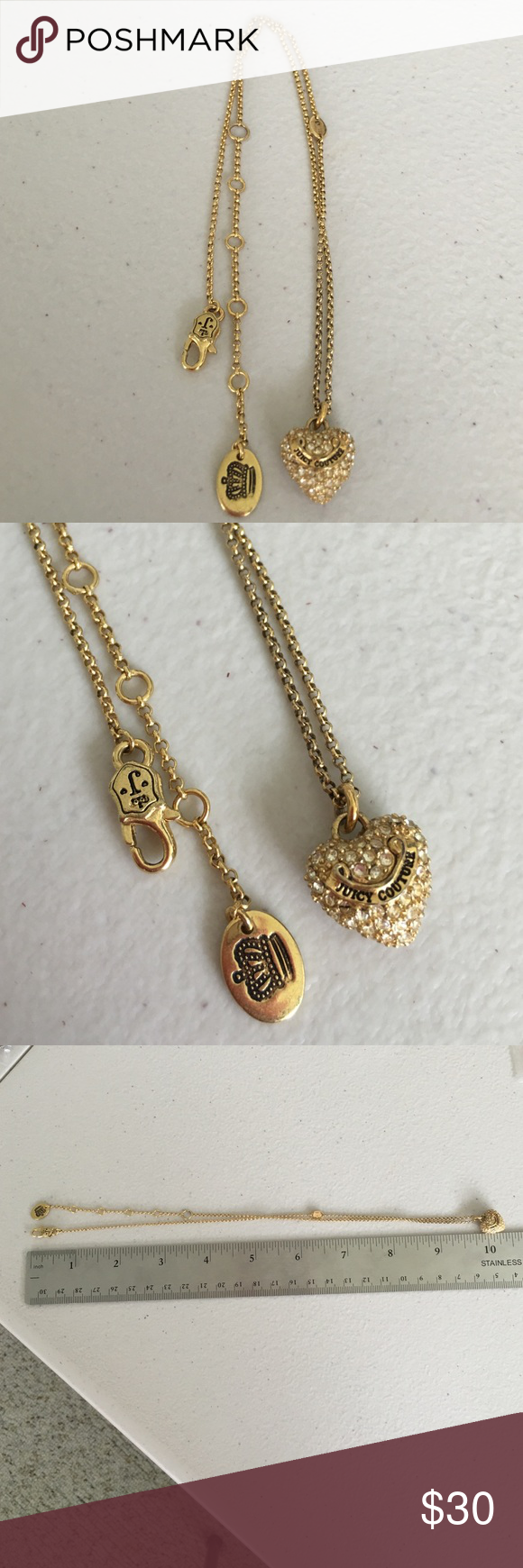 ❥ Juicy Couture Heart Necklace Used Juicy Couture heart necklace. Take a look at the pictures and let me know if you want to get more. Juicy Couture Accessories