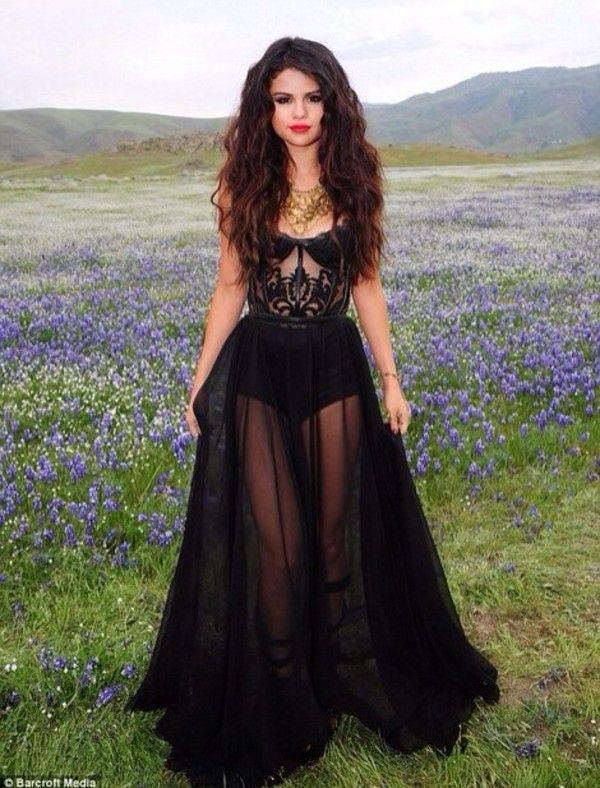 Long black maxi chiffon dress