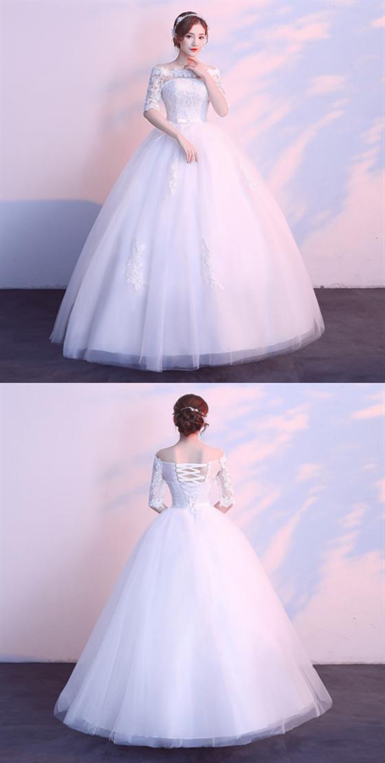 A Line Off Shoulder Half Sleeves Tulle Wedding Dresses Bride Gowns