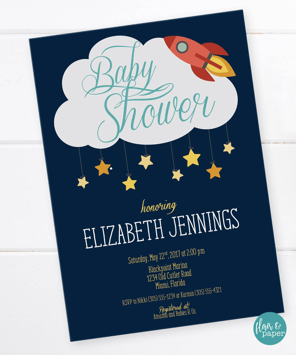 Space Baby Shower Invitation, Outer Space Shower, Rocket Birthday ...