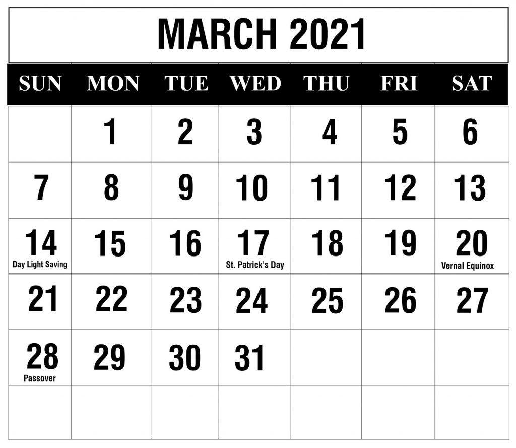 March 2021 Calendar Pdf