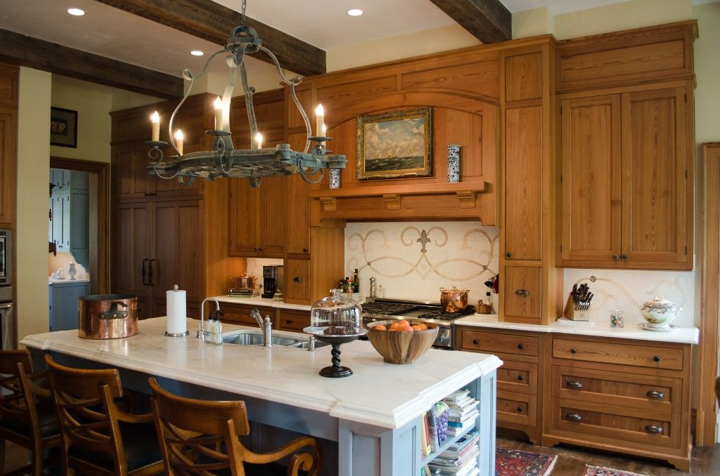 Heart Pine Kitchen Cabinets, Vintage Patina Beams, Kitchen ...