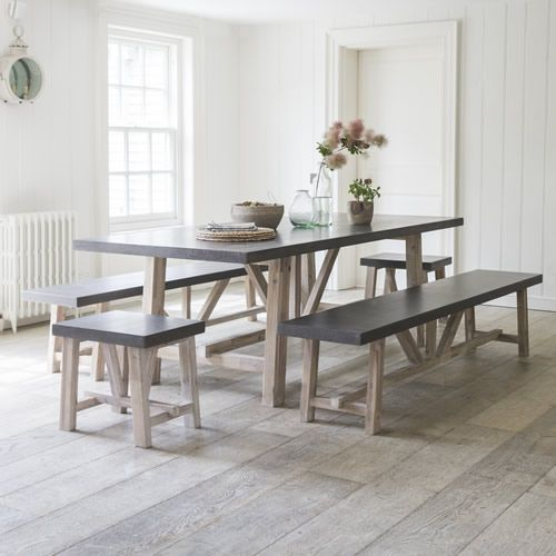 Refectory Style Table And Bench Contemporary Dining Room Set With White Washed Farmhouse Dining Room Table Modern Farmhouse Dining Modern Farmhouse Dining Room