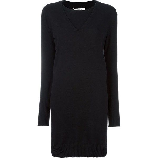 Maison Margiela Layered Effect Sweater Dress (€1.685) ❤ liked on Polyvore featuring dresses, black, drop shoulder dress, long sleeve sweater dress, longsleeve dress, layered sweater dress and v neck dress