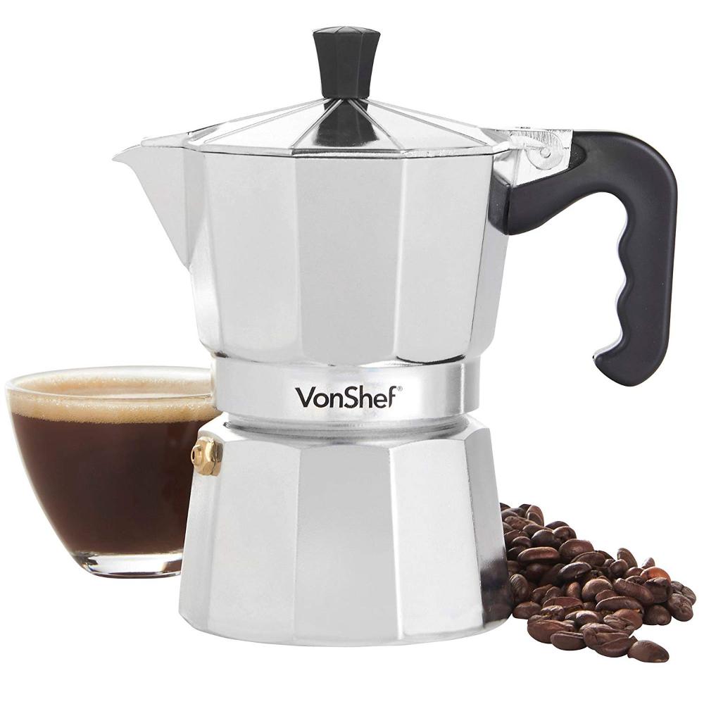 Cafetera Espresso Italiana Macchinetta Moka de 9 tazas VonShef Incluye un filtro y un sello de recambio