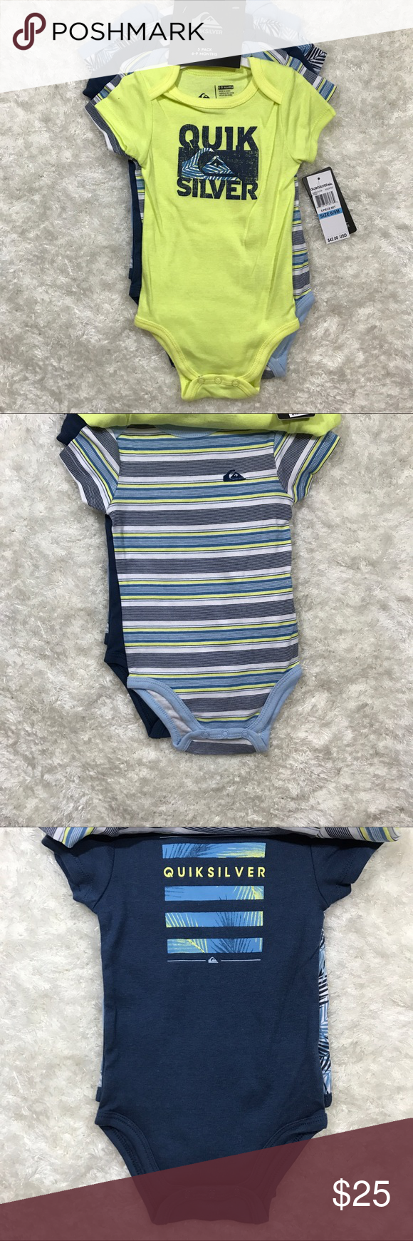640cf9415 Quicksilver baby boy 5 pack bodysuit Short sleeve Brand new•5 pack•short  sleeve•6-9 Months Quiksilver One Pieces Bodysuits