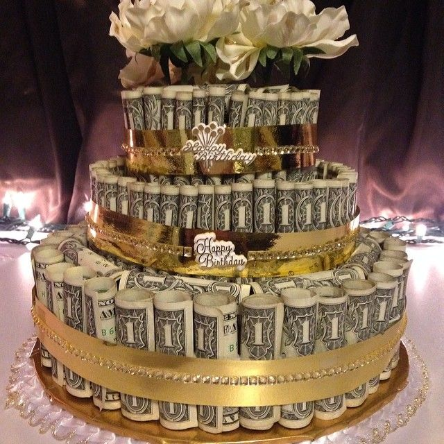Money cake made with about 140 for a 100th birthday party