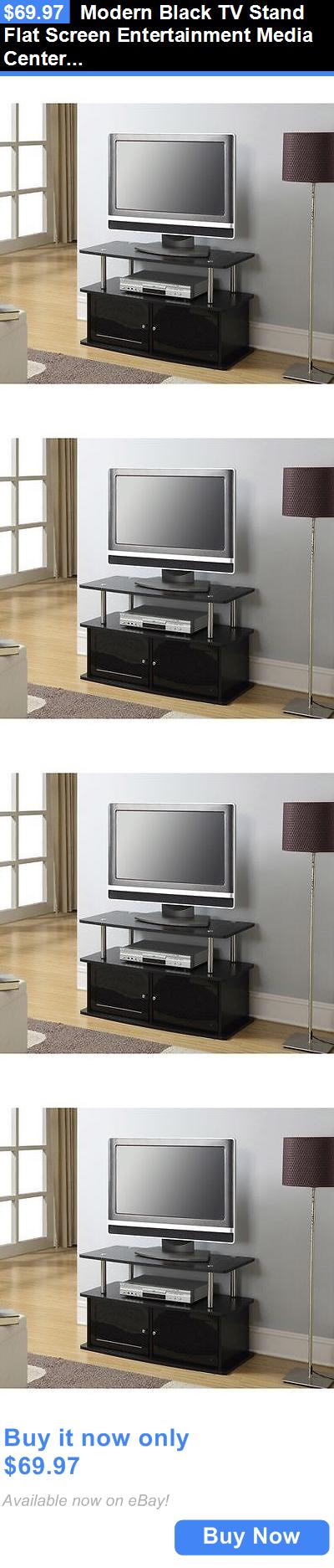 Entertainment Units TV Stands: Modern Black Tv Stand Flat Screen Entertainment  Media Center Furniture Storage
