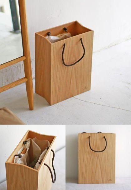 紙袋風木製ゴミ箱 紙袋をモチーフにしたナチュラルなダスト ...