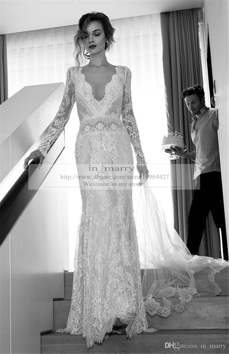 e1f35f7f382 2016 Spring Lihi Hod Mermaid Wedding Dresses Long Sleeves Sexy Deep V Neck  Backless Plus Size Vintage Lace Beach Greek Boho Bridal Gowns Online with  ...