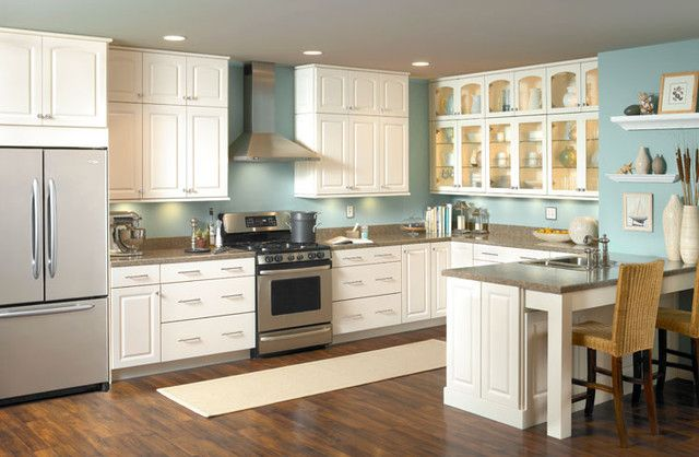 Awesome Traditional Kitchen With Robin Egg Blue Wall Paint U0026 White Cabinets Part 17
