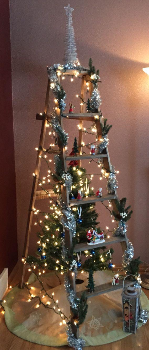 Christmas tree and vintage ladder #leiterdekoweihnachten