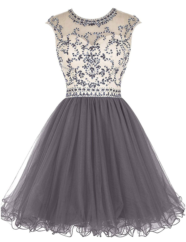 08fe0b6c972 LovingDress Short Prom Dresses Tulle Scoop A Line Mini Homecoming Dresses  at Amazon Women s Clothing store
