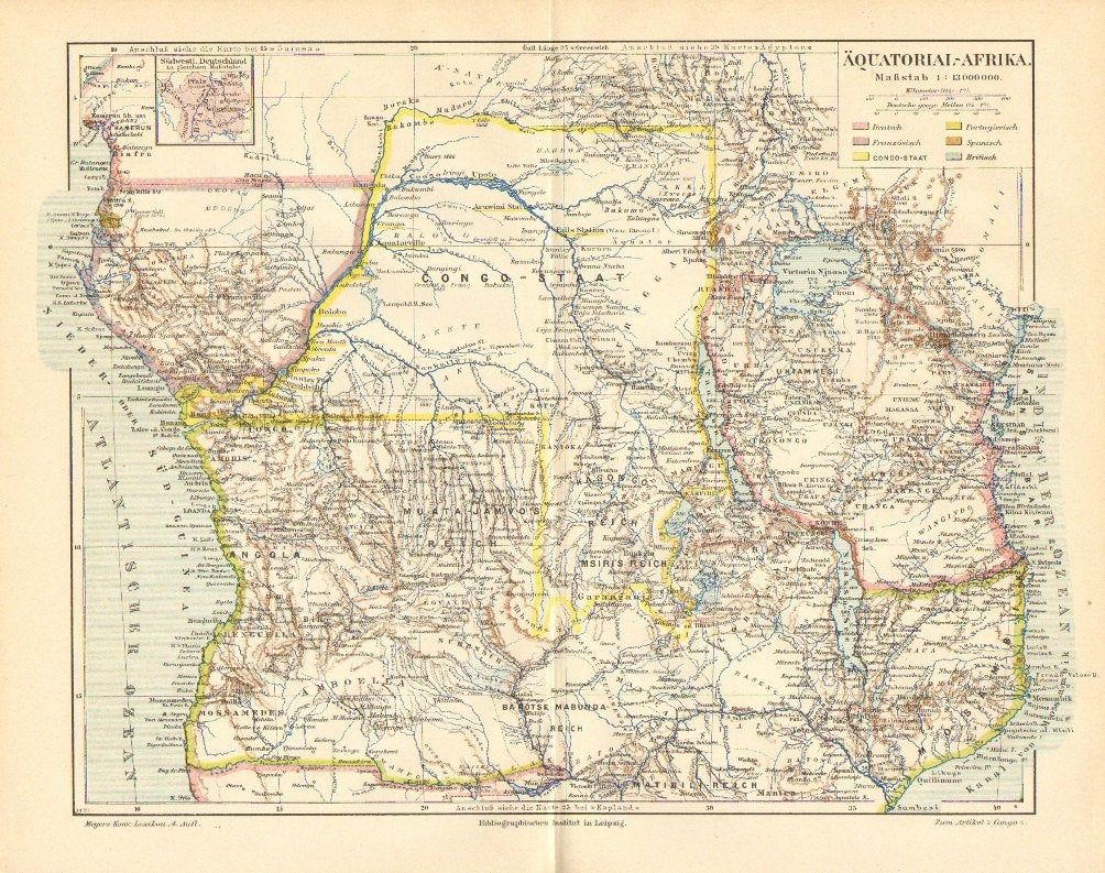 1890 Equatorial Africa Colonies Antique Dated Map French Congo