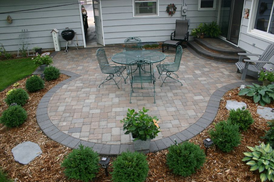 Outdoor Concrete Patio Ideas Next To Brick Images | Brick Paver Patio  Project With Offsetting Charcoal