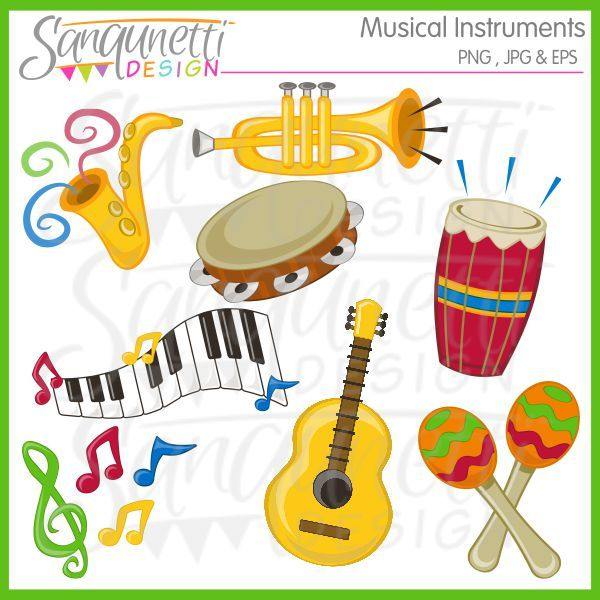 Musical Instruments Clipart Includes Drum Guitar Maracas Music Notes Saxophone Tambourine