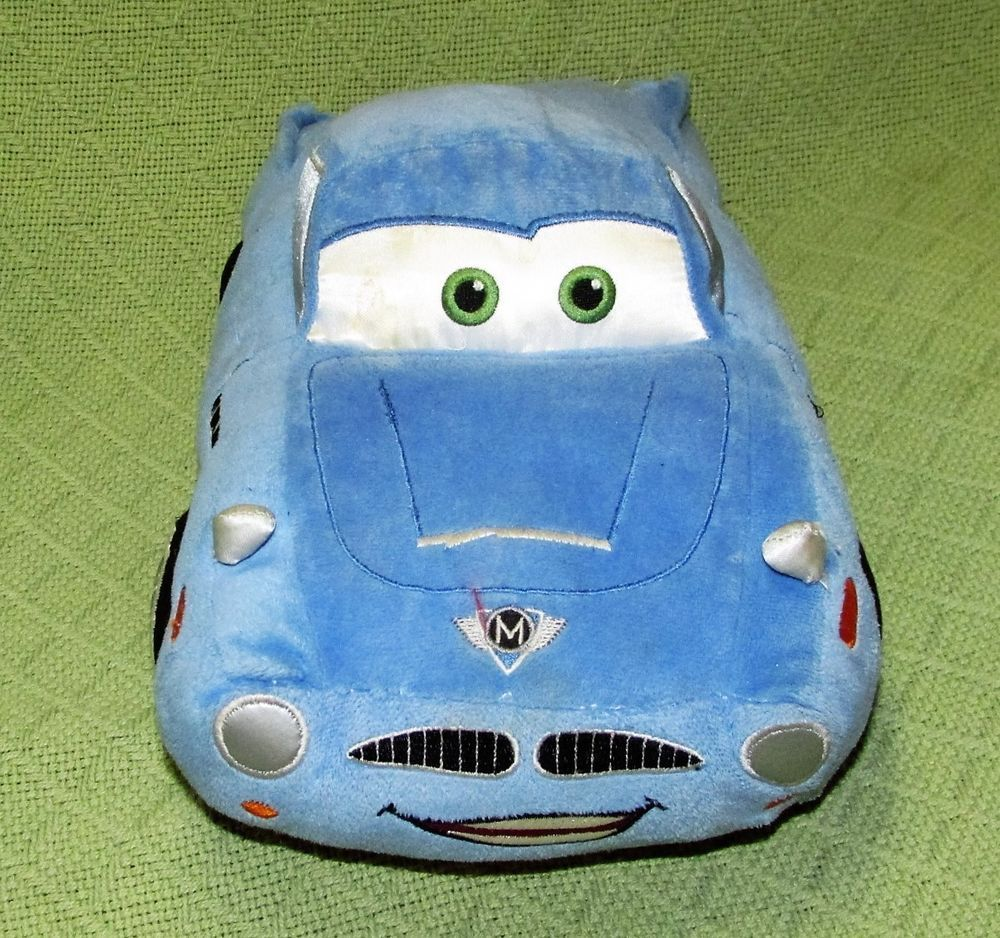 "Disney CARS 2 Movie Plush FINN McMissile 13"" Blue Stuffed Auto Pixar Character"