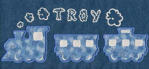 """Choo Choo Font comes in 1"""", 2"""", 3"""" and 4"""" heights. Includes bonus train pieces and smoke puffs in multiple sizes for creating unique monograms. Train pieces are set up for Applique (see Instructions by clicking on """"applique Instructions"""" link above). Incl"""