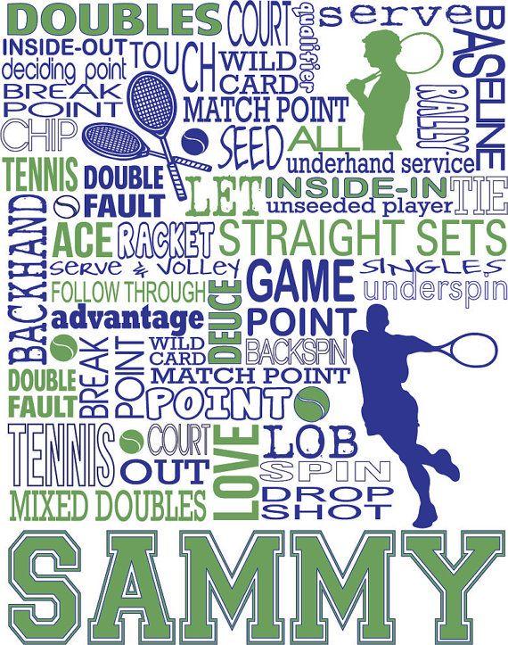Tennis Print Personalized Tennis Typography Print 11 X 14 Tennis Doubles Tennis Senior Night