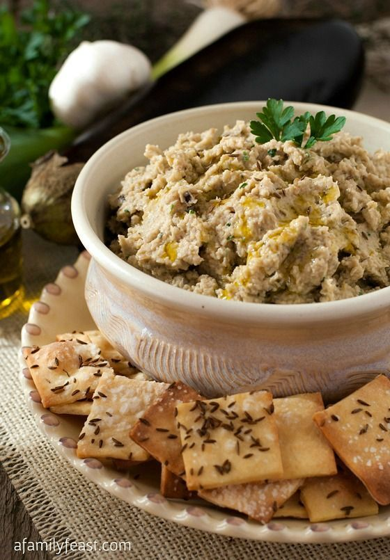 A delicious dip of roasted eggplant and white beans, served with ...   - My Recipe Exchange ~ Let's Share! -