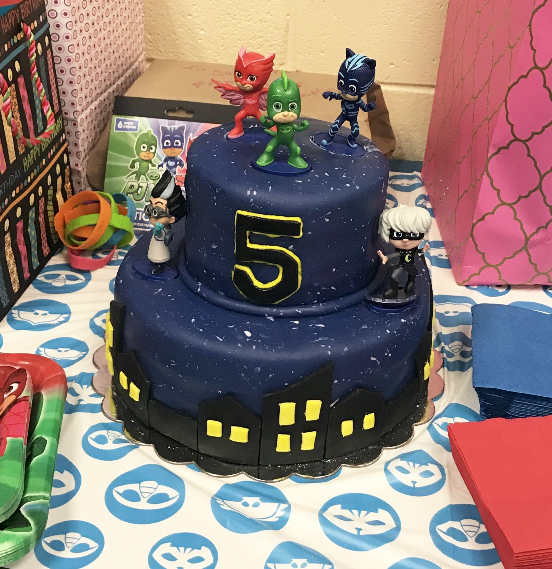 Homemade PJ Masks Birthday Cake With Marshmallow Fondant